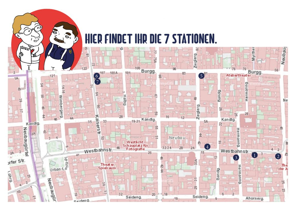 Plan von allen 7 Stationen